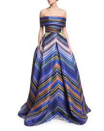 Off-the-Shoulder Striped Ball Gown, Blue/Multi
