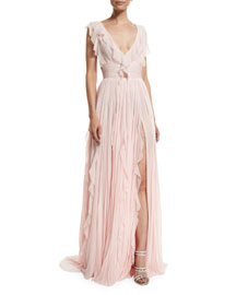 Ruffled Silk Chiffon V-Neck Gown, Cherry Blossom