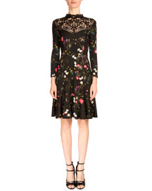 Reiko 3/4-Sleeve Floral-Print Dress, Midnight Daisy