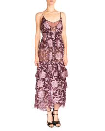 Justina Long Tiered Floral-Print Dress, Pink/Burgundy