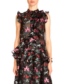 Camelia Sleeveless Ruffled Floral-Print Top, Black
