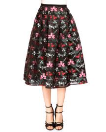 Imari Pleated Floral-Print Skirt, Black/Multi