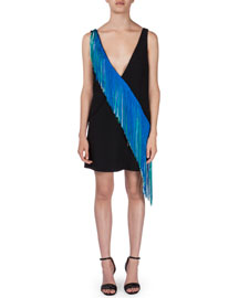 Sleeveless Asymmetric-Fringe Sheath Dress, Black