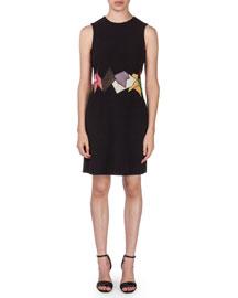 Sleeveless Shift Dress w/Lace Patchwork, Black