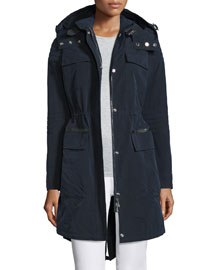 Zip-Front Hooded Parka, Navy