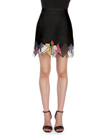 Mixed-Lace Trimmed Mini Skirt, Black