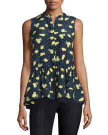 Sleeveless Lemon-Print Silk Peplum Blouse, Lemon/Blue