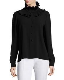 Long-Sleeve Ruffle-Neck Sweater, Black