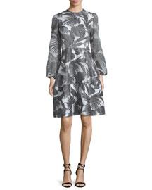 Bishop-Sleeve Palm-Print Dress, Charcoal