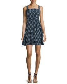 Sleeveless Square-Neck Polka-Dot Silk Dress, Andalusia