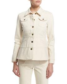 Long-Sleeve A-Line Denim Jacket, Ivory