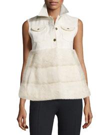 Sleeveless Denim & Mink Fur Vest, Ivory