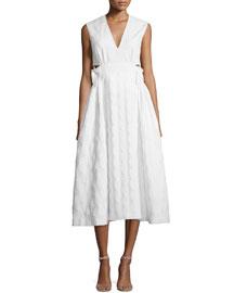 Sleeveless Diamond-Pattern Capelet Midi Dress, White