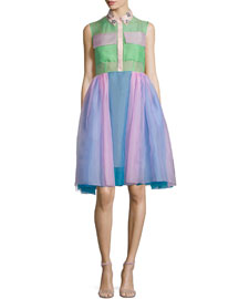 Multicolor Sleeveless Organza Shirtdress, Prism Pink