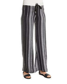 Printed Silk Drawstring Pants, Black