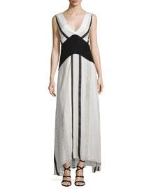 Sleeveless Striped Maxi Dress w/Contrast Waist, Ivory