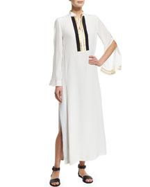 Long-Sleeve Silk Maxi Caftan Dress, Ivory