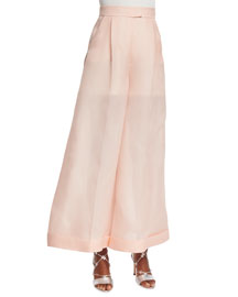 Wide-Leg Silk Organza Pants, Light Pink