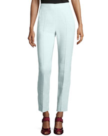 Straight-Leg Cropped Jute Pants, Light Mint