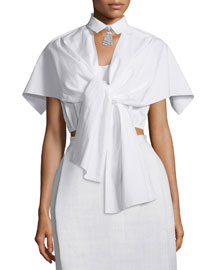 Tie-Front Blouse w/Embellished Detachable Collar, Optical White