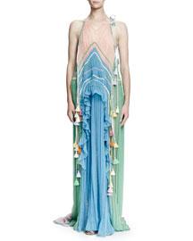 Sleeveless Rainbow Silk Crepe Gown