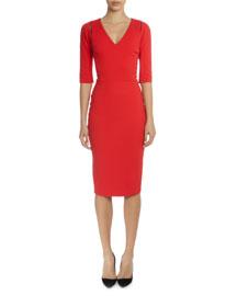 3/4-Sleeve V-Neck Sheath Dress, Red