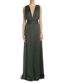 Sleeveless Plunging Tie-Waist Gown, Forest Green