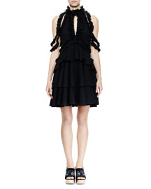 Halter-Neck Ruffled Dress, Black