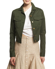 Laces Out Cropped Jacket, Army Green