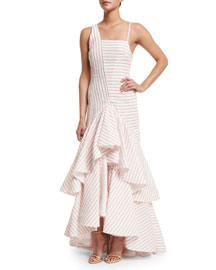 Ticker-Tape Ruffled Linen Gown, Red