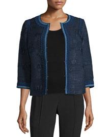 Denim Tweed 3/4-Sleeve Jacket, France/Denim