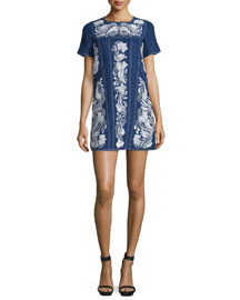 Short-Sleeve Embroidered Denim Shift Dress