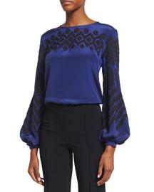 Geometric-Embroidered Bishop-Sleeve Top, France/Black