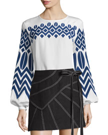 Geometric-Embroidered Bishop-Sleeve Top, White/France
