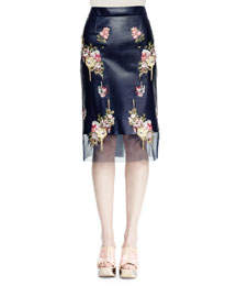 Floral-Embroidered Leather Pencil Skirt, Navy