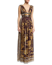 Plunging Jaguar-Print Sleeveless Gown, Burgundy/Gold