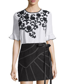 Ruffled Half-Sleeve Embroidered Crepe Top, White