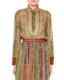 Long-Sleeve Tribal-Ribbon Blouse, Orange/Green