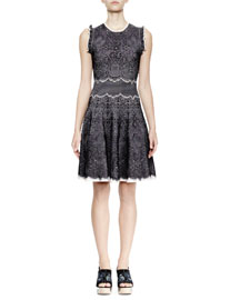 Sleeveless Ruffled Lace Fit-and-Flare Dress, Black