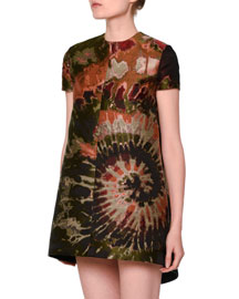 Short-Sleeve Tie-Dye Brocade Dress, Multi
