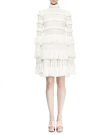 Long-Sleeve Tiered-Lace Ruffle Dress, Ivory