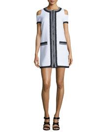 Embroidered Zip-Front Cold-Shoulder Dress, White/Black