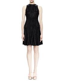 Sleeveless Fit-&-Flare Dress,Black
