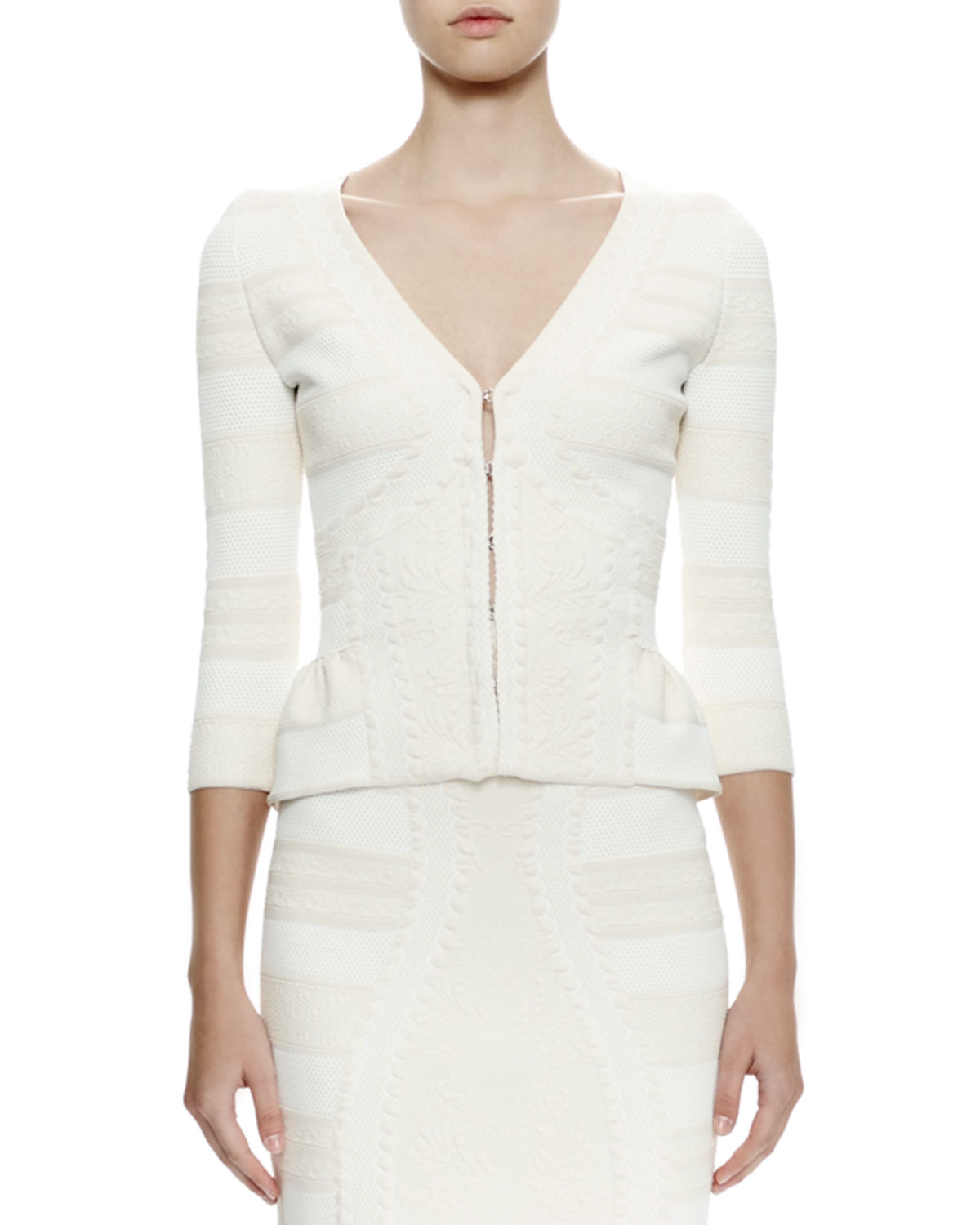 Alexander McQueen 3/4-Sleeve Lace Jacquard Cardigan, Ivory, Women's, Size: LARGE