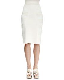 Knit Jacquard Pencil Skirt, Ivory