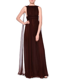 Sleeveless Silk Chiffon Plisse Cape-Back Gown, Granato
