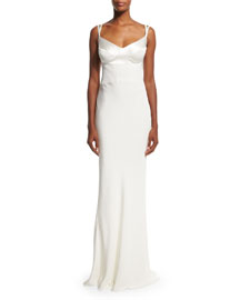 Sweetheart-Neck Silk Gown w/Harness Straps, White