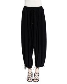 Woven Silk Harem Pants, Black