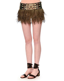 Embroidered Emu Feather Mini Skirt