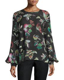Butterfly-Print Bishop-Sleeve Blouse, Black